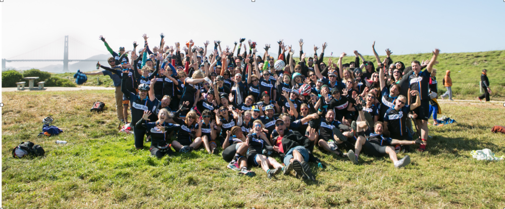 Here's the entire group for our final photo in San Francisco! We're wearing our matching Climate Ride cycling jerseys. Photos by Kip Pierson, the official Climate Ride photographer